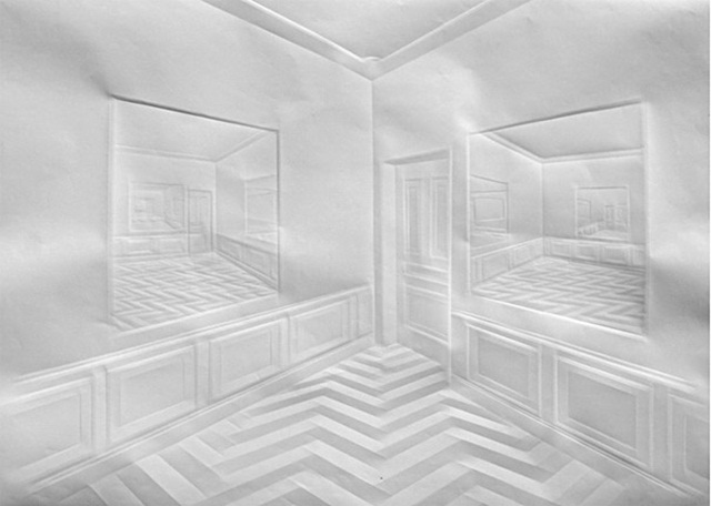 Simon Schubert Folded Paper Art Mirror Room