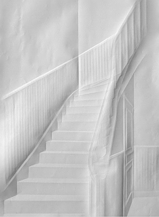 Simon Schubert Folded Paper Art Stairs